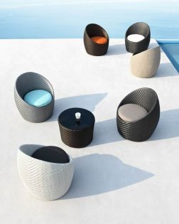 Loungeset Fayence wit-turquoise kussens Outdoorinstyle