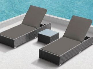 Beach lounger set Cannes donkergrijs