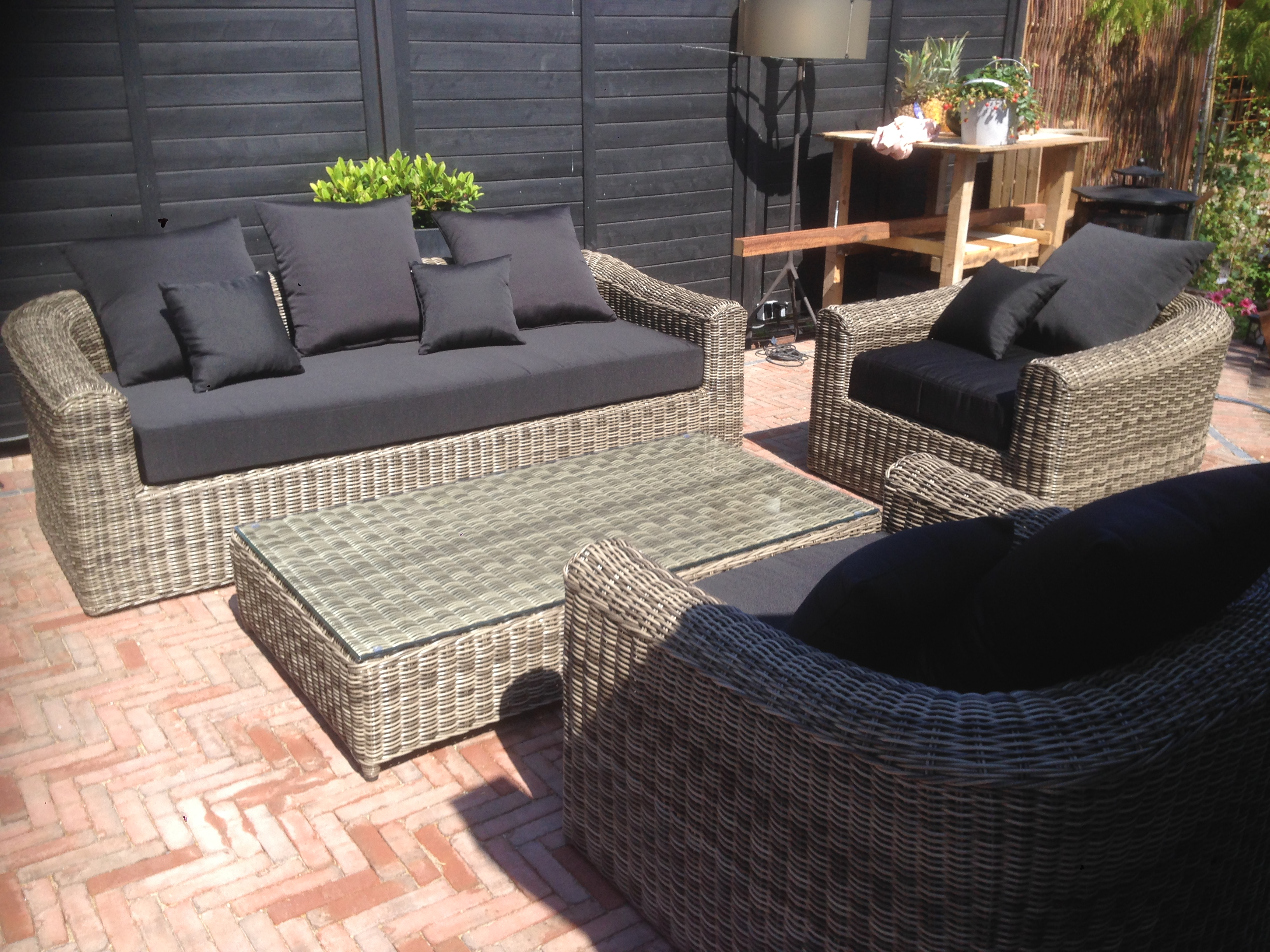 Loungeset montpellier outdoorinstyle for Lounge set rattan gunstig