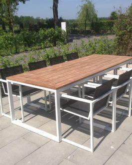 Tuinset San Remo Outdoorinstyle Teak met 6 witte stoelen