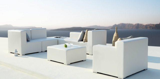 Loungeset Capri gemaakt van buitenleder in wit en grijs