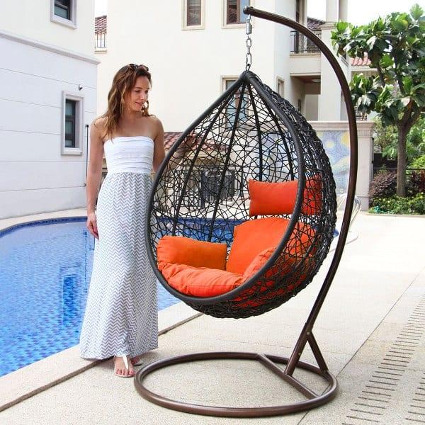Hangstoel Bruin Egg.Hangstoel Rio Outdoorinstyle Bruin Met Taupe Kussens Outdoorinstyle