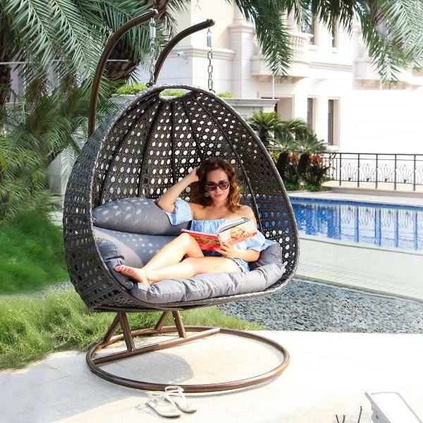 Hangstoel Met Parasol.Deze Luxe Hangstoel Rio Duo Nu Eenvoudig Te Bestellen Via De Webshop