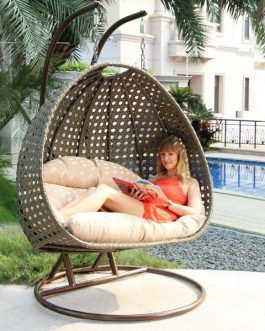 Hangstoel Rio Duo Outdoorinstyle bruin onderstel met oranje kussens