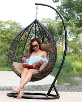 Hangstoel Rio Outdoorinstyle bruin met taupe kussens