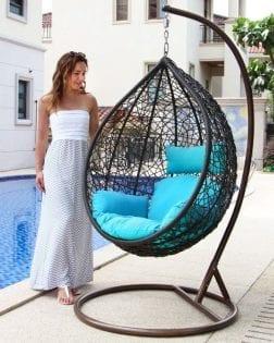 Hangstoel Rio Outdoorinstyle grijs met turquoise kussens