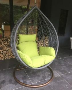 Hangstoel Rio Outdoorinstyle grijs met peridot kussens