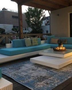 Loungeset Ibiza met turquoise kussens